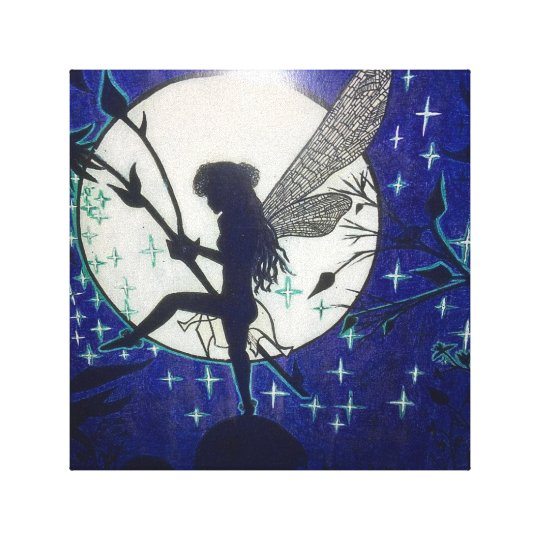 Beautiful fairy in front of the Moonlight Canvas Print