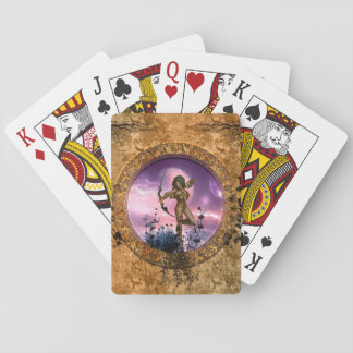 Beautiful fairy with arrow and bow playing cards