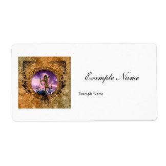 Beautiful fairy with arrow and bow shipping label