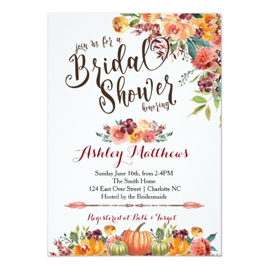 Beautiful FalFloral Bridal Shower Invitation, Baby Card