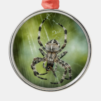 Beautiful Falling Spider on Web Silver-Colored Round Ornament