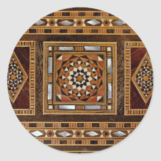 Beautiful Famous mother-of-pearl inlay work, Damas Round Sticker