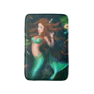 Beautiful Fantasy mermaid with lilies Bath Mat