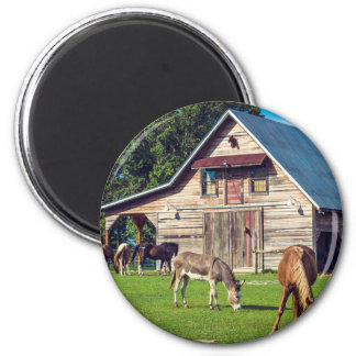 Beautiful Farm Scene with Horses and Barn 2 Inch Round Magnet