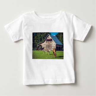 Beautiful Farm Scene with Horses and Barn Baby T-Shirt
