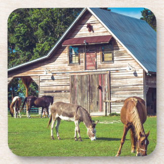 Beautiful Farm Scene with Horses and Barn Beverage Coasters