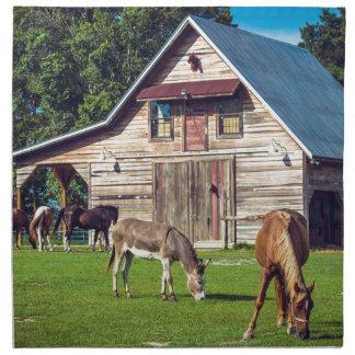 Beautiful Farm Scene with Horses and Barn Napkin