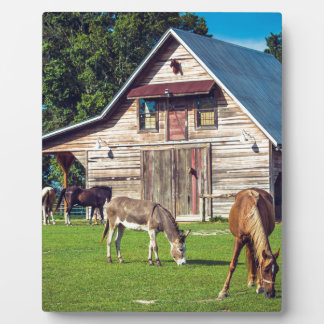 Beautiful Farm Scene with Horses and Barn Plaque