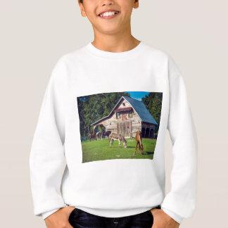 Beautiful Farm Scene with Horses and Barn Sweatshirt
