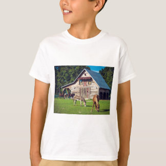 Beautiful Farm Scene with Horses and Barn T-Shirt