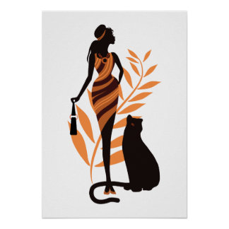 Beautiful fashion african girl  big cat Panther Poster