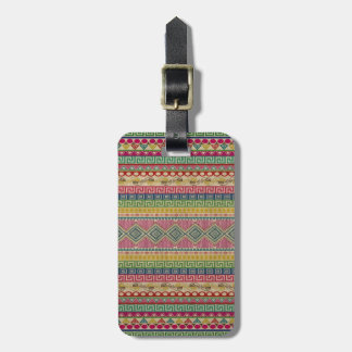 Beautiful fashionable colourful Aztec pattern Luggage Tag