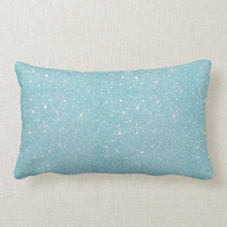 Beautiful fashionable soft blue glitter shinning lumbar pillow