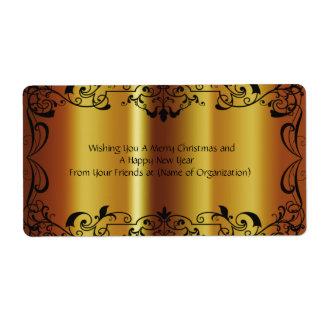 Beautiful, Faux, Shiny Gold, Custom, Wedding Wine Shipping Label