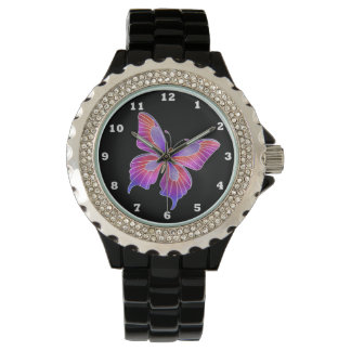 Beautiful Faux stained glass butterfly rhinestone Watch