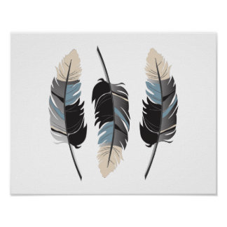 Beautiful Feathers in Cream, Blue, Gray and Black Poster