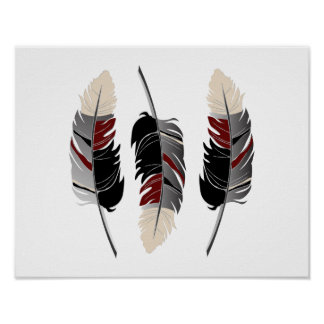 Beautiful Feathers in Cream, Maroon, Gray & Black Poster