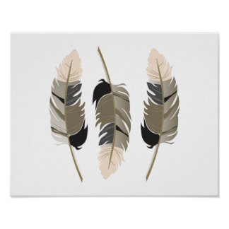 Beautiful Feathers in Cream, Taupe, Gray and Black Poster