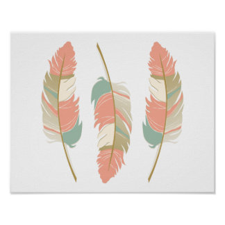 Beautiful Feathers in Mint Green and Coral Poster