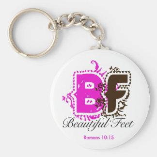 beautiful feet logo keychain