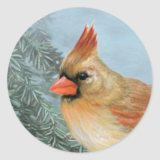 Beautiful Female Cardinal Classic Round Sticker