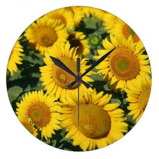 Beautiful Field of Sunflowers Large Clock