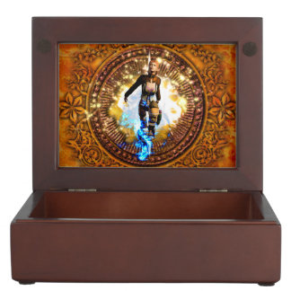 Beautiful fighter in a circle with fire memory boxes