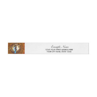 Beautiful fighter in a circle with fire wraparound address label