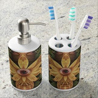 Beautiful Filigree Oxidized Copper Fractal Orchid Bathroom Set