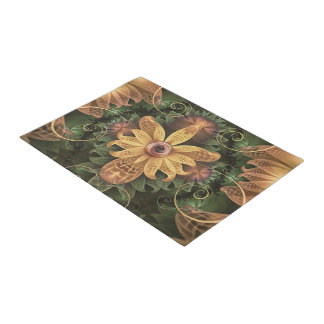 Beautiful Filigree Oxidized Copper Fractal Orchid Doormat