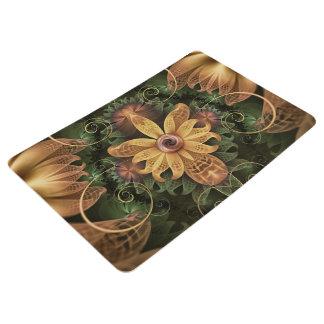 Beautiful Filigree Oxidized Copper Fractal Orchid Floor Mat