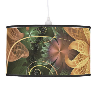 Beautiful Filigree Oxidized Copper Fractal Orchid Pendant Lamp