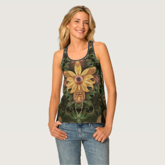 Beautiful Filigree Oxidized Copper Fractal Orchid Tank Top