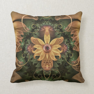 Beautiful Filigree Oxidized Copper Fractal Orchid Throw Pillow