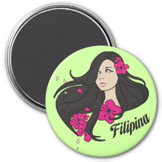 Beautiful Filipina Graphic Tee 3 Inch Round Magnet