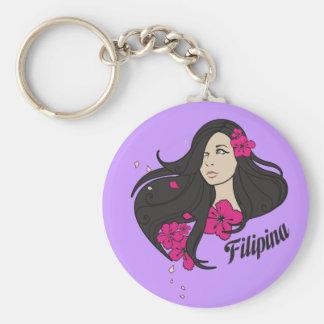 Beautiful Filipina Graphic Tee Keychain