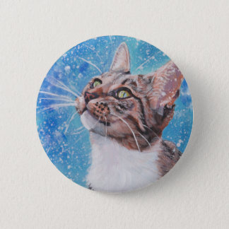 Beautiful Fine Art Tabby Cat in Snow Painting 2 Inch Round Button