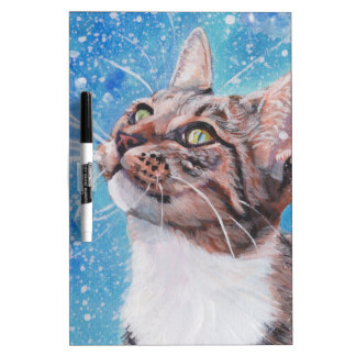 Beautiful Fine Art Tabby Cat in Snow Painting Dry Erase Board