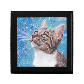 Beautiful Fine Art Tabby Cat in Snow Painting Gift Box
