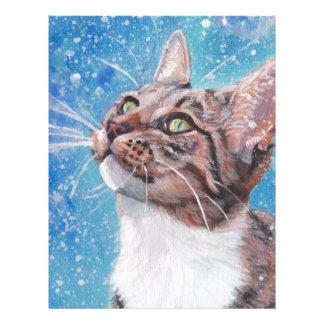 Beautiful Fine Art Tabby Cat in Snow Painting Letterhead