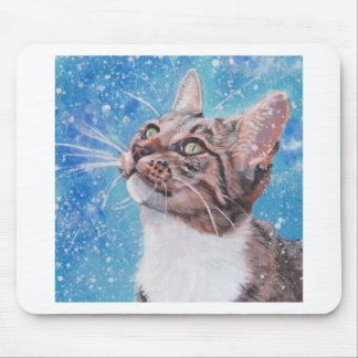 Beautiful Fine Art Tabby Cat in Snow Painting Mouse Pad