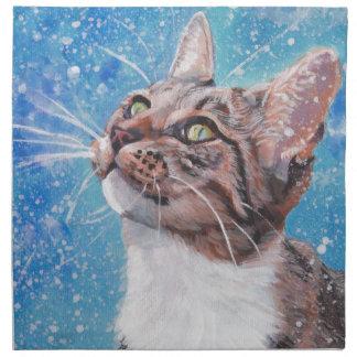 Beautiful Fine Art Tabby Cat in Snow Painting Napkin