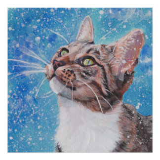 Beautiful Fine Art Tabby Cat in Snow Painting Poster