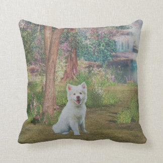 Beautiful Finnish Lapphund Dog in Forest Throw Pillow