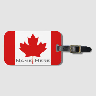 Beautiful Flag of Canada With Monogram Bag Tag