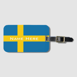 Beautiful Flag of Sweden With Monogram Luggage Tag
