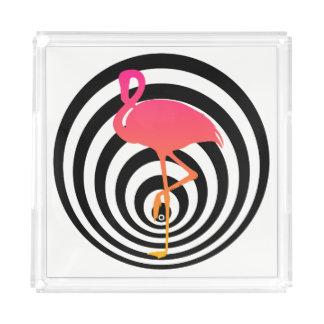 Beautiful flamingo in circles acrylic tray