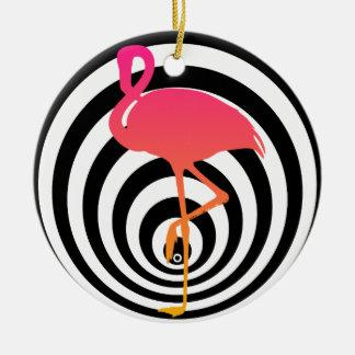 Beautiful flamingo in circles ceramic ornament