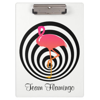 Beautiful flamingo in circles clipboard