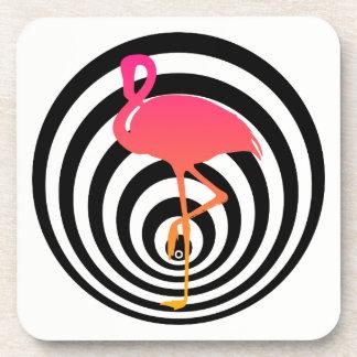 Beautiful flamingo in circles coaster